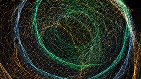 fondo della rappresentazione 3d con le corde torte della particella Fondo astratto digitale scuro Immagine Stock