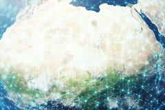 fondo della rete globale della rappresentazione 3D Linee del collegamento con Dots Around Earth Globe Connettività internazionale Immagine Stock Libera da Diritti