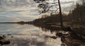 Fondo della riva del lago evening Fotografia Stock