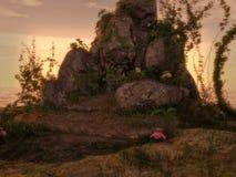 Fondo della roccia e dell'edera di fantasia illustrazione vettoriale