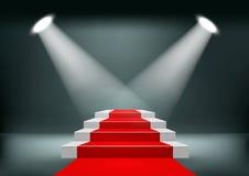 Fondo della sala d'esposizione con un tappeto rosso Fotografie Stock Libere da Diritti