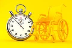 Fondo della sedia a rotelle con il cronometro Immagini Stock