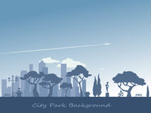 Fondo della siluetta del parco della città Immagini Stock
