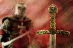Fondo della spada e del cavaliere Fotografia Stock Libera da Diritti
