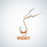 Fondo della spruzzata del colpo della bottiglia di vetro del whiskey Fotografia Stock Libera da Diritti