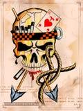 fondo della stampa grungy del cranio di stile retro royalty illustrazione gratis