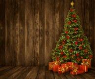 Fondo della stanza dell'albero di Natale, interno di legno del pavimento di legno della parete Fotografie Stock Libere da Diritti