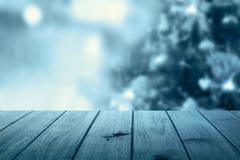 Fondo della tavola di Natale Priorità bassa di legno Fotografia Stock