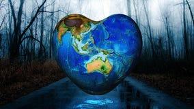 Fondo della terra di forma del cuore fotografia stock