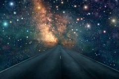 Fondo della Via Lattea della nebulosa della stella della strada Fotografia Stock Libera da Diritti