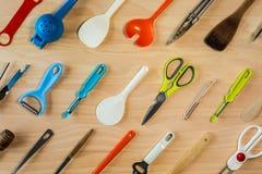 Fondo delle attrezzature della cucina Fotografia Stock
