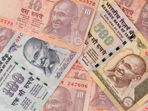 Fondo delle banconote della rupia indiana, primo piano dei fondi dell'India Immagini Stock