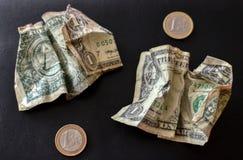 Fondo delle banconote in dollari degli Stati Uniti uno Progettazione delle note di struttura dell'americano cento dei soldi Penna immagini stock