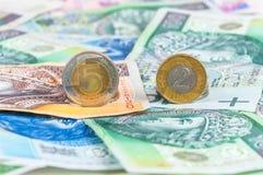 Fondo delle banconote e delle monete polacche Fotografie Stock