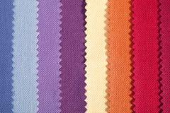 Fondo delle bande verticali variopinte del tessuto di cotone seghettato Fotografie Stock