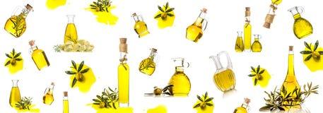 Fondo delle bottiglie e dei barattoli di olio d'oliva Fotografia Stock