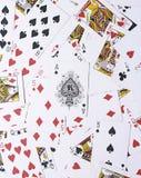 Fondo delle carte da gioco - vanghe Ace sulla cima fotografia stock libera da diritti
