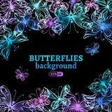 Fondo delle farfalle dell'acquerello Immagine Stock