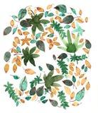 Fondo delle foglie di autunno dell'acquerello Fotografia Stock Libera da Diritti