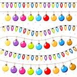 Fondo delle ghirlande delle lampadine di Natale Fotografia Stock Libera da Diritti