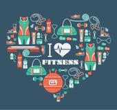 Fondo delle icone di forma fisica nella forma del cuore Amo la forma fisica Immagini Stock