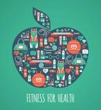 Fondo delle icone di forma fisica nella forma della mela Fotografia Stock