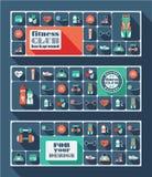 Fondo delle icone di forma fisica Progettazione piana Fotografie Stock Libere da Diritti