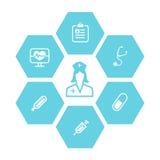 Fondo delle icone di salute e della medicina Fotografie Stock Libere da Diritti