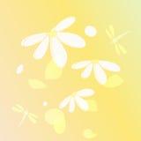 Fondo delle libellule e dei fiori Fotografia Stock Libera da Diritti