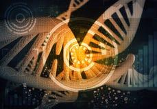 Fondo delle molecole del DNA, rappresentazione 3D Fotografie Stock