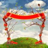 Fondo delle nuvole con gli alberi, i fiori, le colline ed il grande nastro rosso illustrazione vettoriale