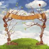 Fondo delle nuvole con gli alberi, i fiori, le colline ed il grande ribbo rosso illustrazione vettoriale