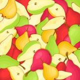Fondo delle pere La pera rossa e verde gialla del modello di vettore fruttifica sguardo appetitoso dell'intera fetta Gruppo di sa Fotografia Stock