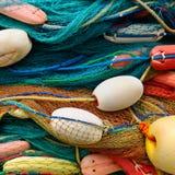 Fondo delle reti da pesca e dei galleggianti Fotografie Stock Libere da Diritti
