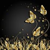 Fondo delle siluette delle farfalle e dell'erba Fotografia Stock
