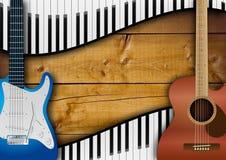 Fondo delle tastiere e delle chitarre Immagini Stock