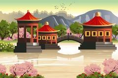 Fondo delle tempie cinesi illustrazione vettoriale
