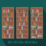 Fondo dello scaffale di libro delle biblioteche Immagini Stock Libere da Diritti