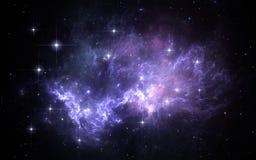 Fondo dello spazio con la nebulosa e le stelle Fotografia Stock Libera da Diritti