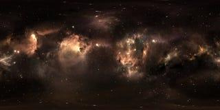 Fondo dello spazio con la nebulosa e le stelle della polvere Panorama, mappa dell'ambiente 360 HDRI Proiezione di Equirectangular Immagini Stock Libere da Diritti