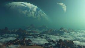 fondo dello spazio 3D con i pianeti romanzati Fotografia Stock Libera da Diritti