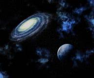 fondo dello spazio 3D con il pianeta e la galassia di fantasia Fotografie Stock