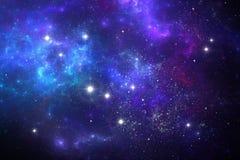 Fondo dello spazio del cielo notturno con la nebulosa e le stelle Immagine Stock