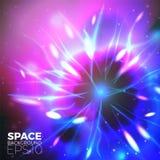 Fondo dello spazio vettoriale con le luci intense dei pianeti, della nebulosa ecc illustrazione vettoriale