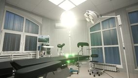 Fondo dello zoom del carrello della sala operatoria moderna all'ospedale Immagini Stock