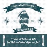 Fondo detallado de las aventuras del mar de la cuerda temática de la nave ilustración del vector