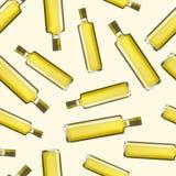 Fondo detallado realista del modelo de Olive Oil Glass Bottle Seamless Vector Fotos de archivo