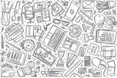 Fondo determinado dibujado mano del vector del garabato que trabaja independientemente libre illustration