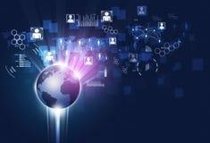 Fondo di affari di comunicazioni di Gobal di concetto Immagini Stock Libere da Diritti
