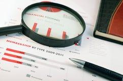 Fondo di affari. organizzatore, lente d'ingrandimento Immagini Stock